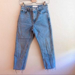 Topshop Straight Leg Denim Jeans with Raw Hem